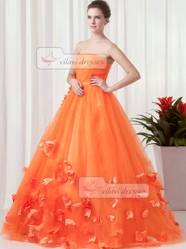 Ball Gown Strapless Floor-length Tulle Flower Draped Quinceanera Dresses