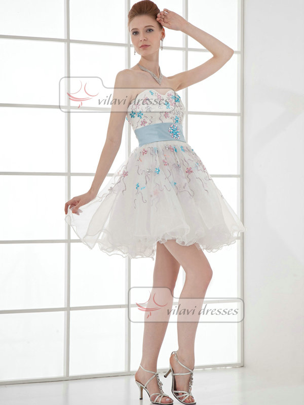 A-line Sweetheart Strapless Short Organza Crystal Cocktail Dresses