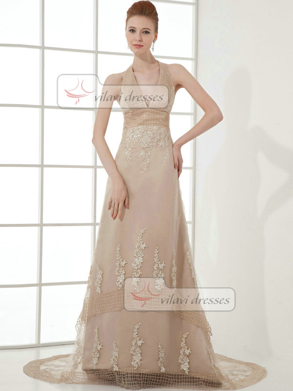 A-line Halter Brush Train Organza Beading Appliques Prom Dresses