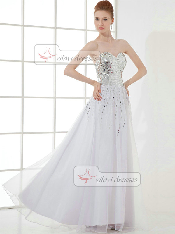 A-line Sweetheart Strapless Floor-length Organza Sequin Prom Dresses