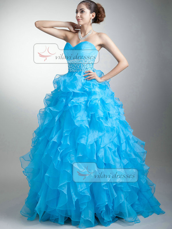 Princess Sweetheart Floor-length Organza Sequin Ruffle Prom Dresses