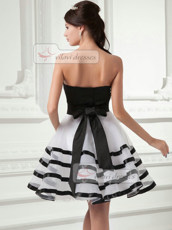 A-line Tube Top Strapless Short Organza Flower Tiered Cocktail Dresses