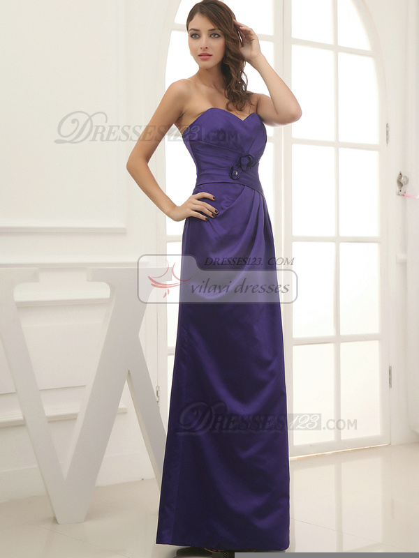 Amazing Sheath/Column Satin Floor-length Flower Evening Dresses