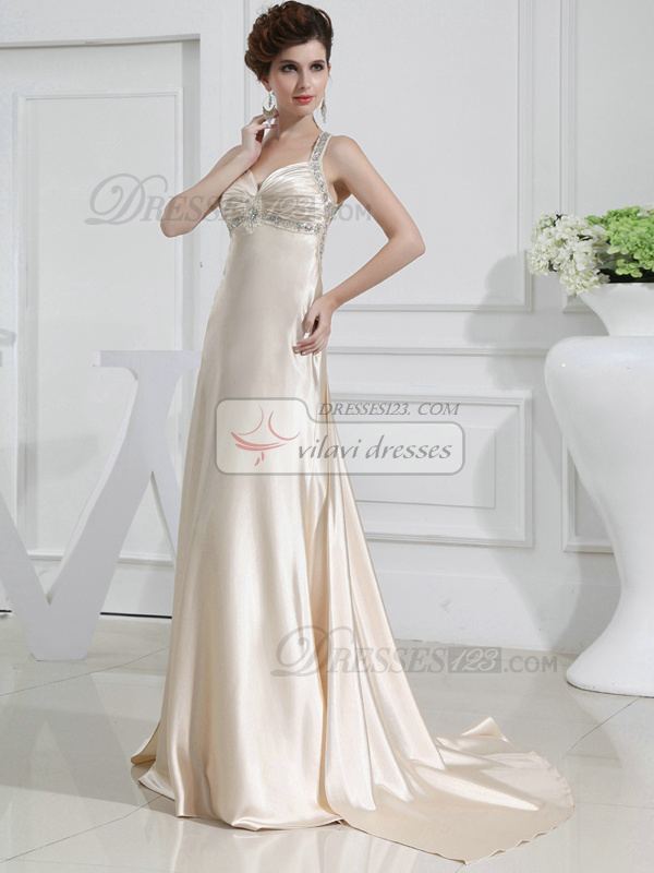 Terrific A-line Satin Halter Crystal Prom Dresses