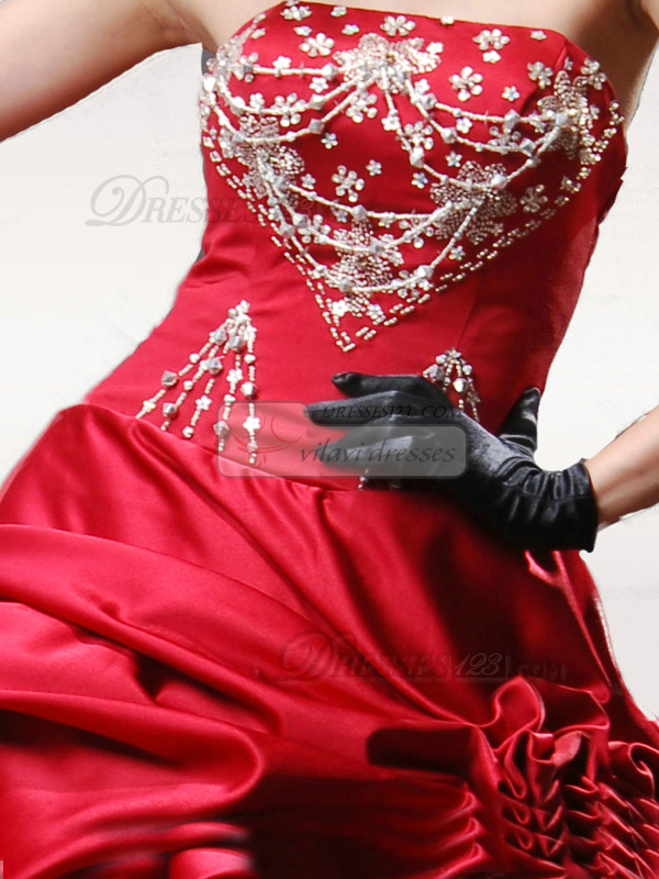 Princess Strapless Floor-length Satin Sequin Quinceanera Ruffle Dresses