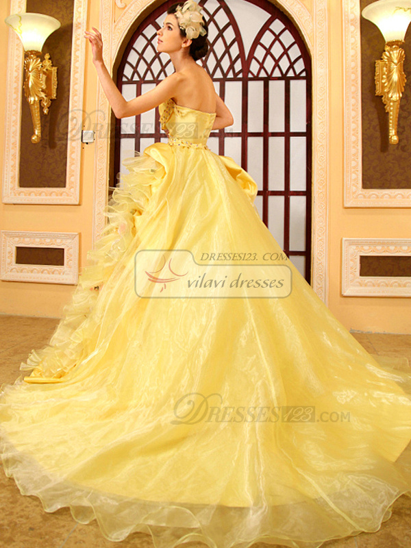 Ball Gown Strapless Court Train Satin Flower Crystals Quinceanera Dresses