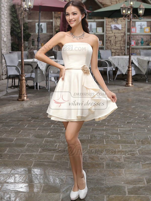 A-line Tube Top Strapless Short Satin Flower Homecoming Dresses