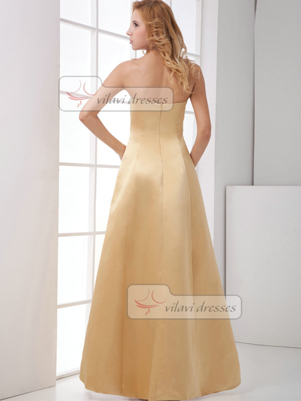 Over Hip Tube Top Floor-length Satin Side-draped Evening Dresses