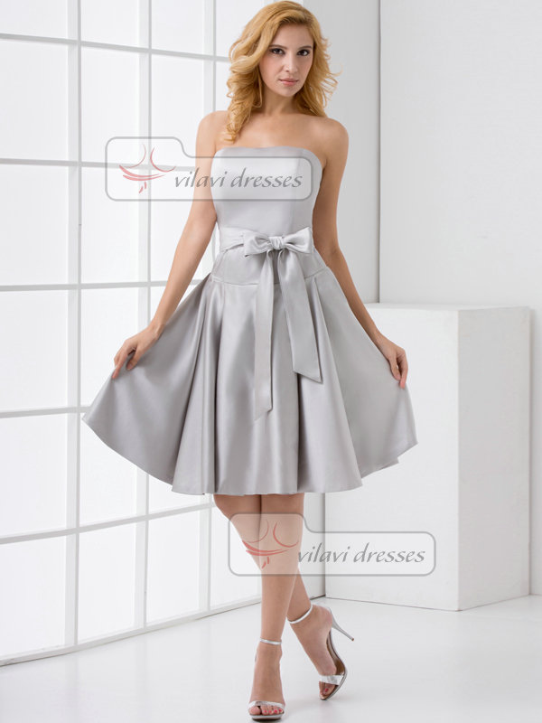 A-line Tube Top Strapless Knee-length Satin Sashes Prom Dresses