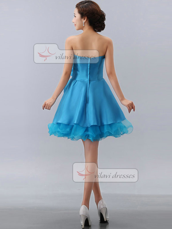 A-line Sweetheart Short Satin Crystal Flower Sequin Homecoming Dresses
