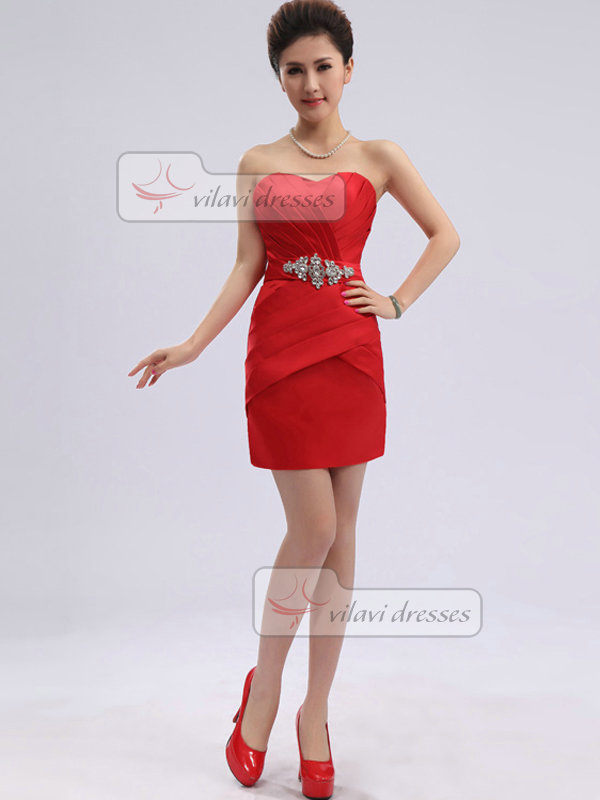 Column Sweetheart Strapless Short Satin Crystal Homecoming Dresses