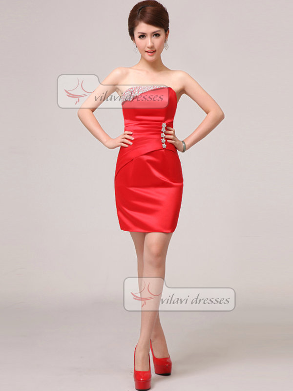Column Tube Top Strapless Short Satin Crystal Sequin Prom Dresses