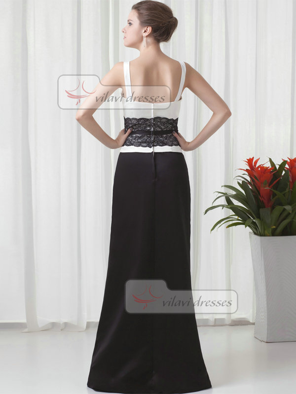Column Straps Floor-length Satin Crystal Lace Prom Dresses