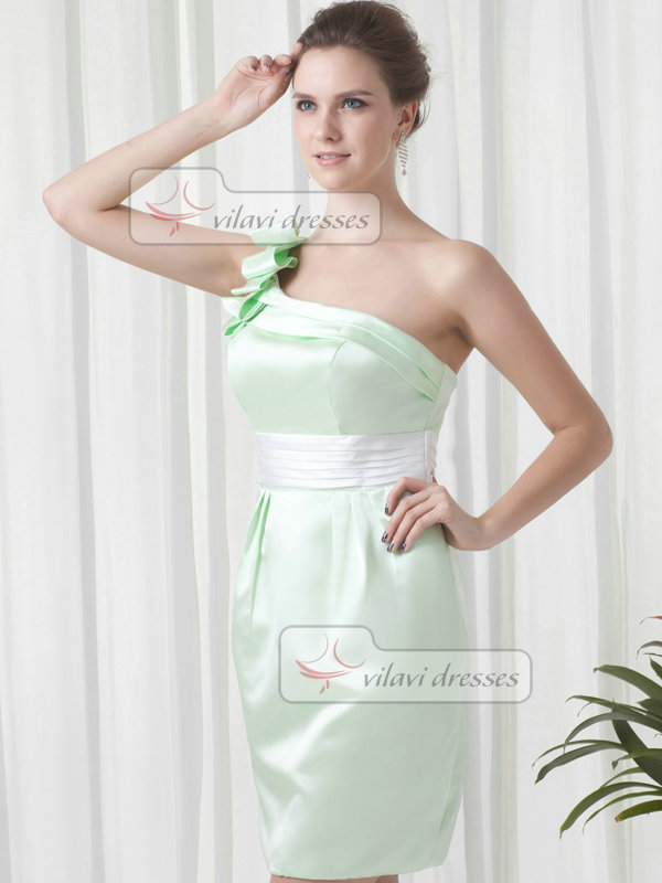 Sheath One Shoulder Short Satin Tiered Cocktail Dresses