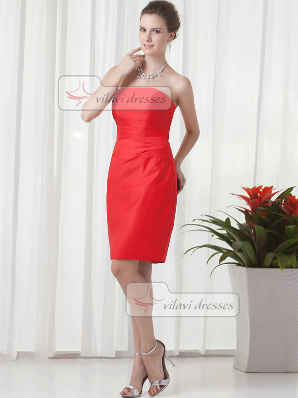 Sheath Strapless Knee-length Satin Side-draped Cocktail Dresses