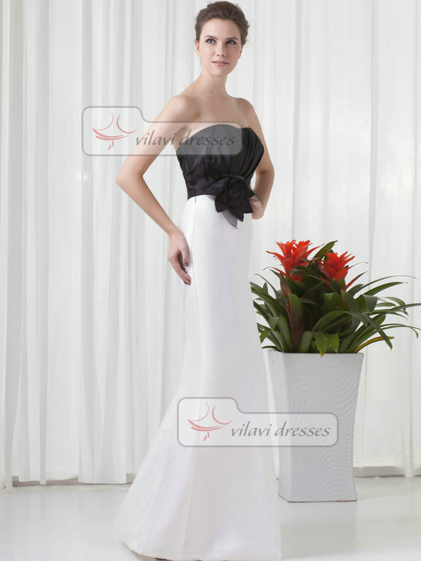 Over Hip Strapless Floor-length Satin Flower Evening Dresses
