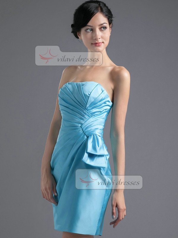 Column Tube Top Strapless Short Satin Side-draped Homecoming Dresses