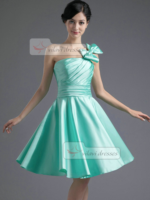 A-line One Shoulder Short Satin Side-draped Bowknot Homecoming Dresses