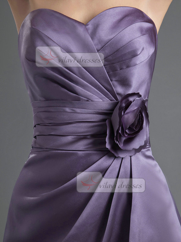 A-line Sweetheart Knee-length Satin Tiered Flower Homecoming Dresses