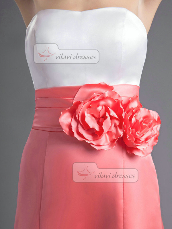 A-line Strapless Tube Top Ankle-length Satin Flower Prom Dresses