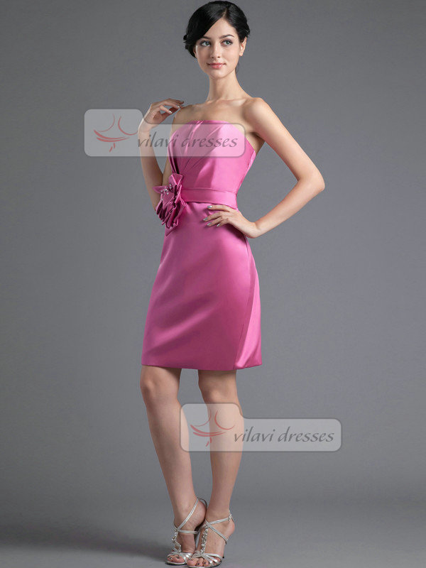 Column Tube Top Short Satin Flower Crystal Homecoming Dresses