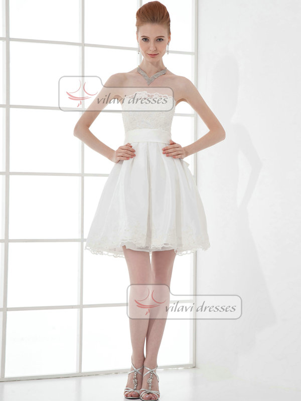 A-line Scalloped-edge Short Satin Beading Sequin Lace Cocktail Dresses