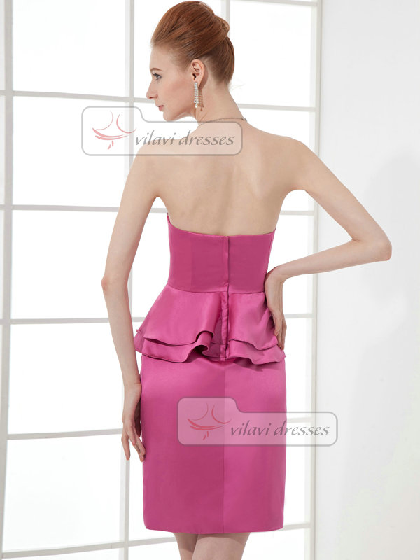 Column Tube Top Strapless Short Satin Tiered Cocktail Dresses