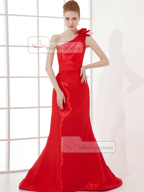Over Hip One Shoulder Brush Train Satin Flower Evening Dresses