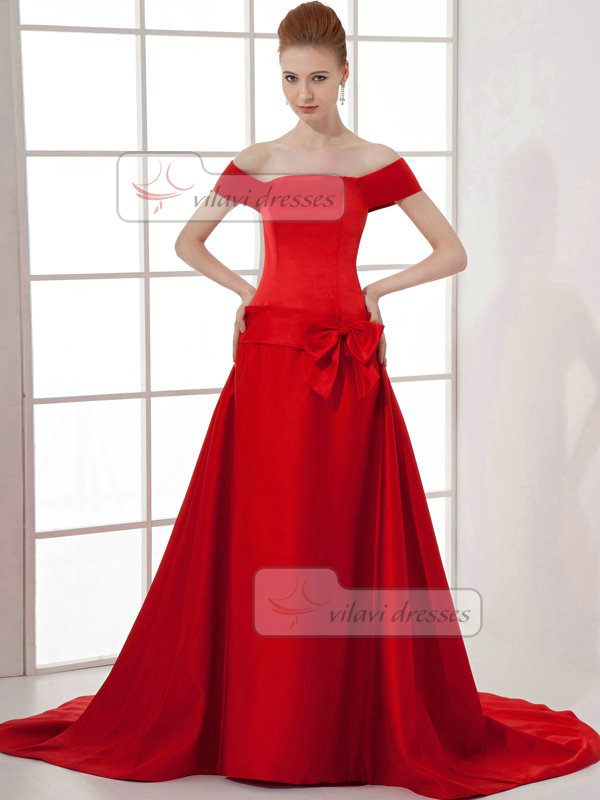 Over Hip Off-the-shoulder Sweep Satin Short Sleeve Prom Dresses With Bowknot