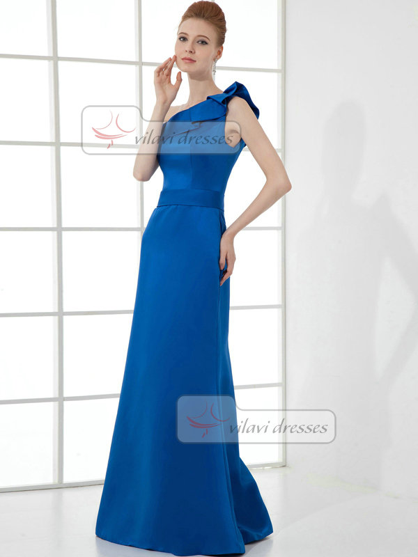 A-line One Shoulder Floor-length Satin Evening Dresses