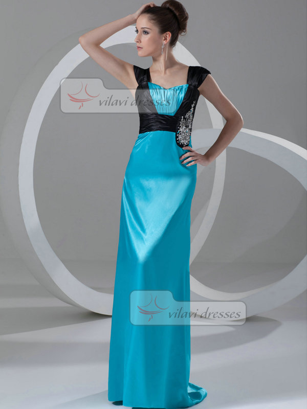 Sheath Straps Floor-length Satin Beading Sequin Prom Dresses