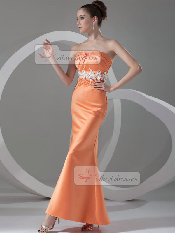 Over Hip Strapless Ankle-length Satin Beading Sequin Evening Dresses