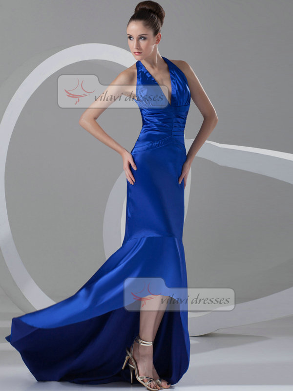 Mermaid Halter Brush Train Satin Tiered Evening Dresses
