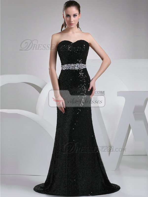 Brilliant Mermaid/Trumpet Sequined Sweetheart Sweep Prom Dresses