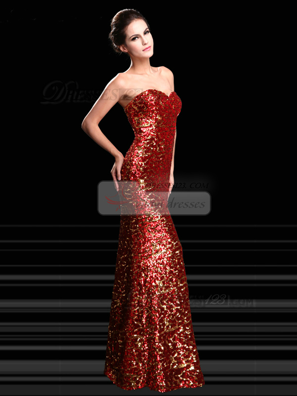 Mermaid Sequin Sweetheart Floor Length Sequined Prom Dresses
