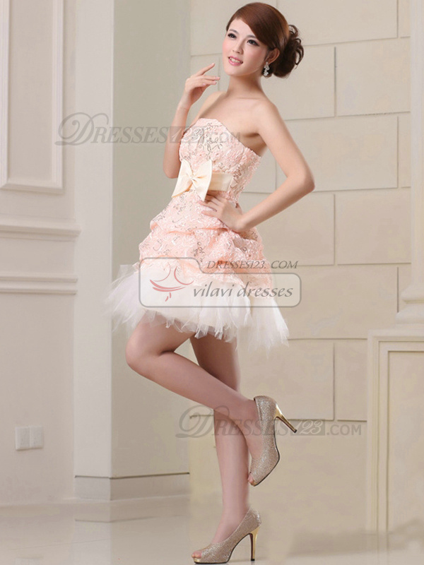 Princess Strapless Short Sequined Bowknot Homecoming Dresses