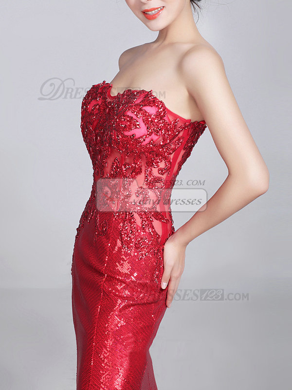 Mermaid Sweetheart Brush Train Sequined Appliques Prom Dresses