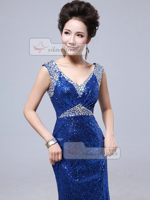 Mermaid V-neck Straps Floor-length Crystal Beading Sequin Prom Dresses