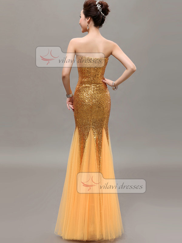Mermaid Sweetheart Strapless Floor-length Sequin Prom Dresses