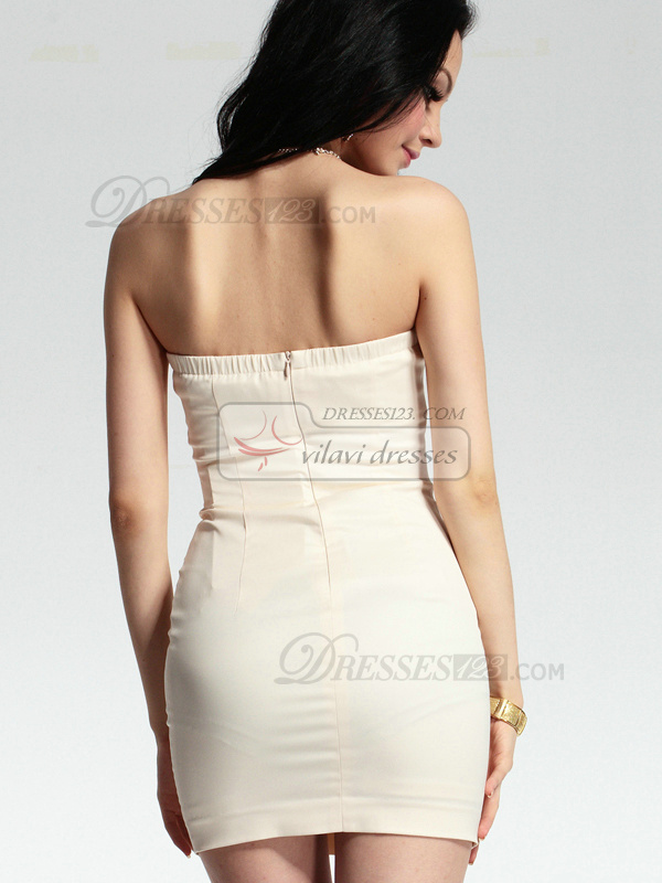Magnificent Sheath Stretch Satin Short Sweetheart Strapless Crystal Homecoming/Cocktail Dresses
