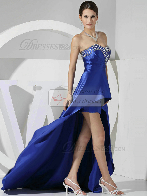 Perfect A-line Sweetheart Asymmetrical Train Crystal Prom Dresses