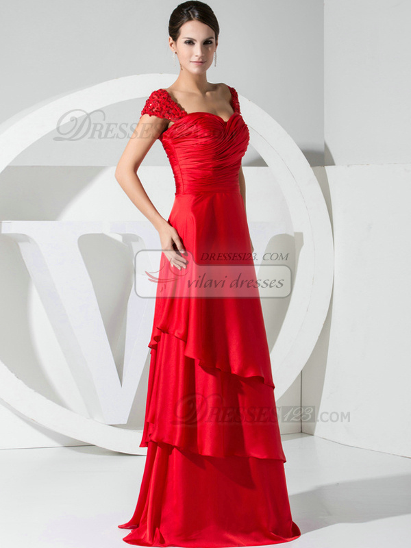 Glorious A-line Stretch Satin Straps Beading Evening/Prom Dresses