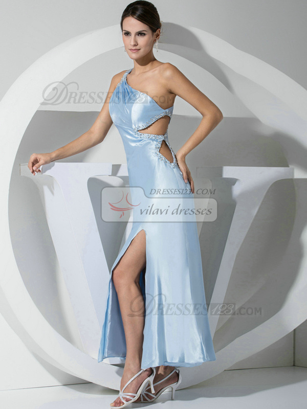 Snazzy A-line Stretch Satin One shoulder Crystal/Rhinestone Evening/Prom Dresses