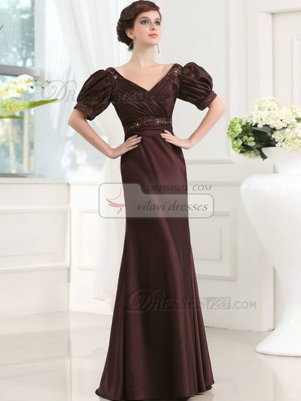 Elegant A-line Stretch Satin V-neck Floor-length Evening Dresses