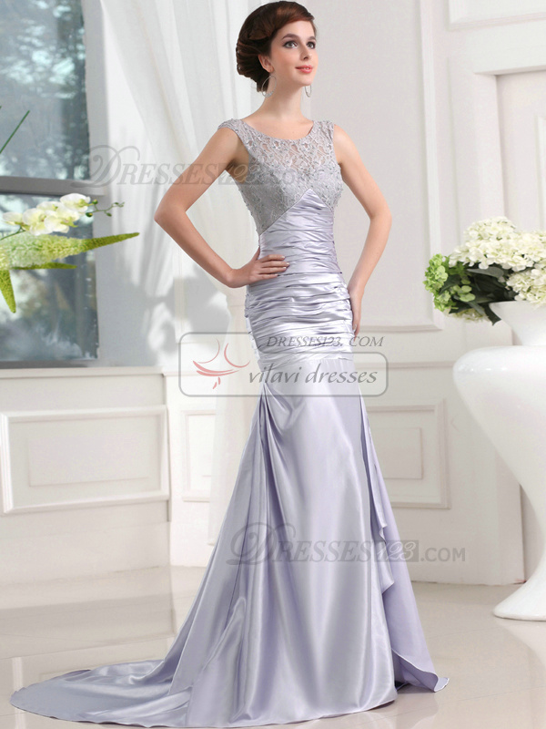 Luxurious A-line Stretch Satin Scoop Lace Prom Dresses