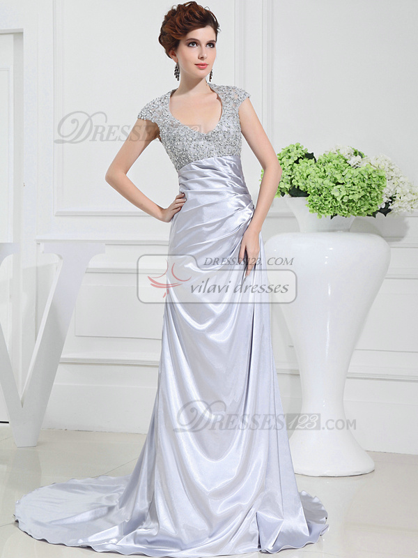 Fantastic A-line Stretch Satin Halter Sweep Prom Dresses