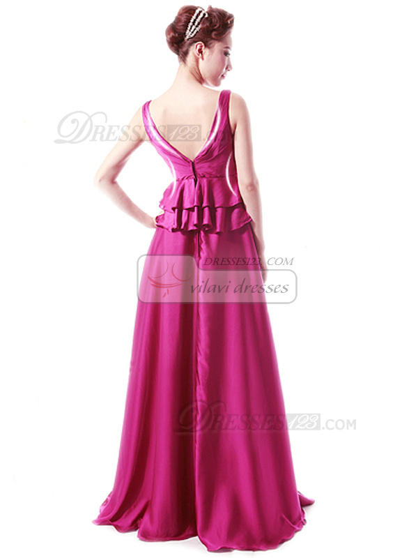 Sheath Straps Floor-length Stretch Satin Crystal Peplum Prom Dresses