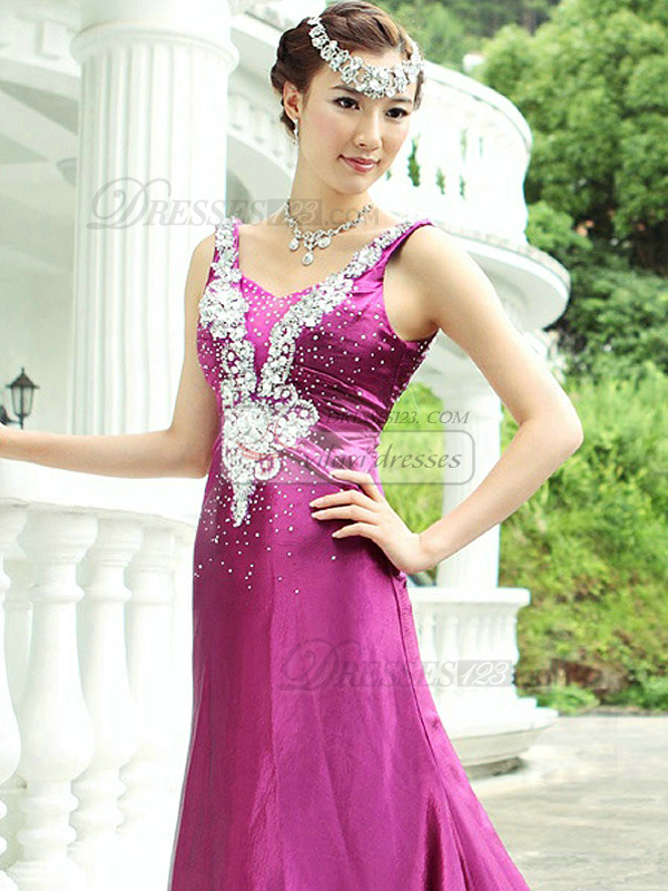 A-line Scoop Court Train Stretch Satin Sequin Backless Prom Dresses
