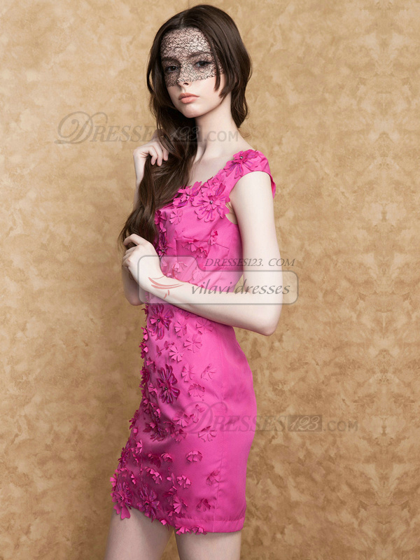 Sheath Scoop Short Stretch Satin Beading Flowers Homecoming Dresses