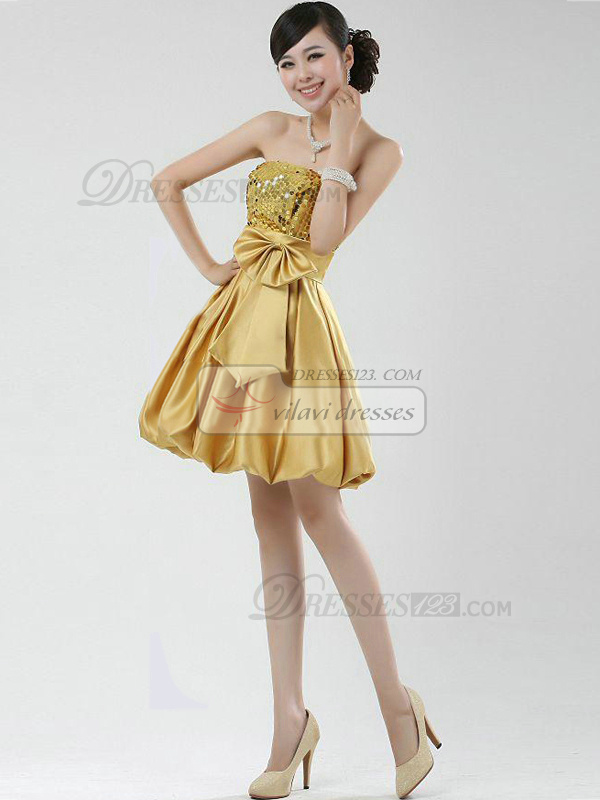 A-line Strapless Short Stretch Satin Sequin Bowknot Homecoming Dresses